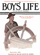 Scout at Ship's Wheel from the September 1913 Boys' Life cover