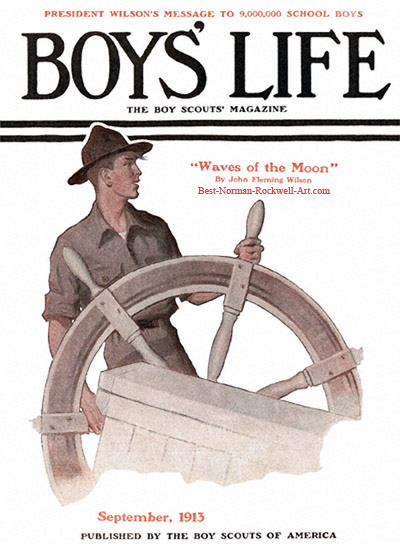 Norman Rockwell cover for Boys' Life appearing September 1913 entitled Scout at Ship's Wheel
