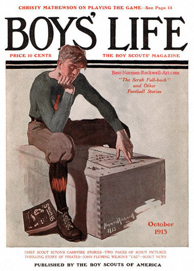 Norman Rockwell cover for Boys' Life appearing October 1913 entitled Boy on Trunk