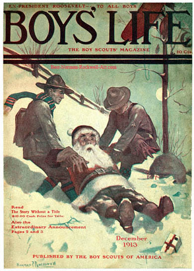 Norman Rockwell Boy's Life cover published December 1913. The title is Santa and Scouts in Snow
