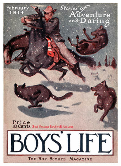 Norman Rockwell cover for Boys' Life appearing February 1914 entitled Scout on Horse with Wolves