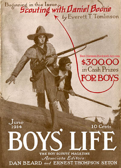 Norman Rockwell cover for Boys' Life appearing June 1914 entitled Scouting with Daniel Boone
