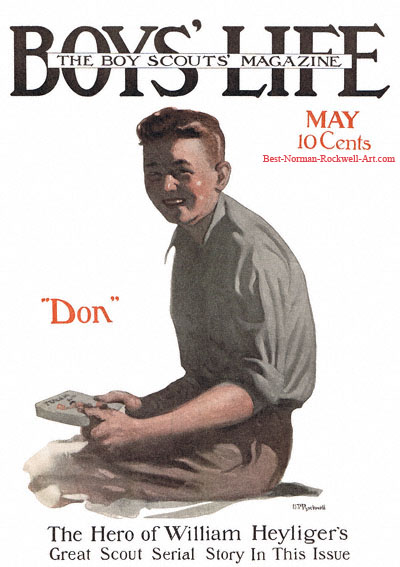 Norman Rockwell cover for Boys' Life appearing May 1915 entitled Don Strong