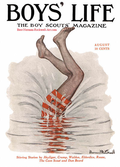 Norman Rockwell cover for Boys' Life appearing August 1915 entitled Tail End of a Dive