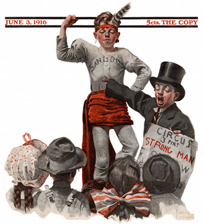 Saturday Evening Post June 3, 1916 cover Circus Barker and Strongman
