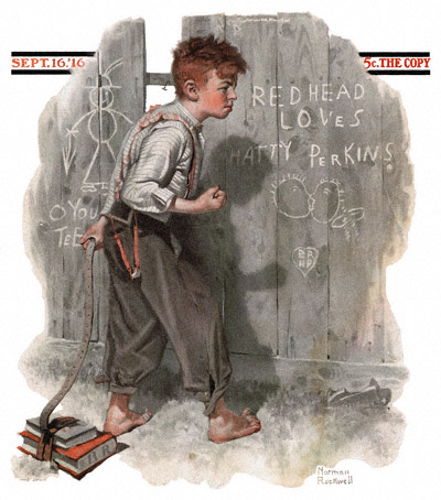 Norman Rockwell cover for The Saturday Evening Post cover appearing September 16, 1916 entitled Redhead Loves Hatty Perkins
