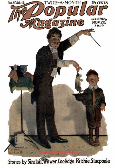 The Magician by Norman Rockwell appeared on Popular Magazine cover November 20, 1916