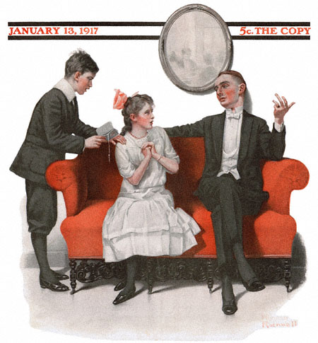 Saturday Evening Post cover by Norman Rockwell January 13, 1917 issue Two Men Courting Girls Favor