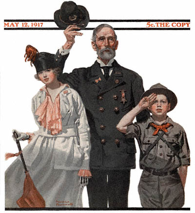 The May 12, 1917 Saturday Evening Post cover by Norman Rockwell entitled Saluting the Flag