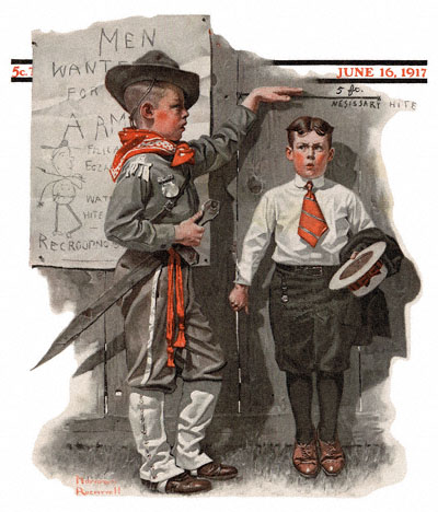 Boy Measuring Height by Norman Rockwell from the June 16, 1917 cover of The Saturday Evening Post