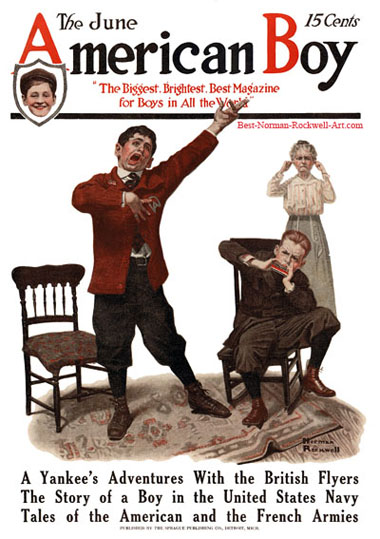 Promising Talent by Norman Rockwell appeared on American Boy cover June 1917