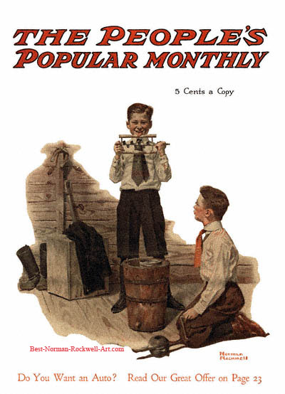 Two Boys Making Ice Cream by Norman Rockwell appeared on Peoples Popular Monthly cover June 1917