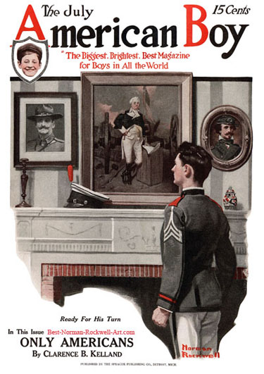 Ready for His Turn by Norman Rockwell appeared on American Boy cover July 1917