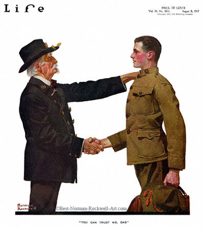 You Can Trust Me, Dad by Norman Rockwell appeared on Life Magazine cover May 10, 1917
