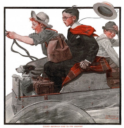 Cousin Reginald Goes to the Country by Norman Rockwell appeared on The Country Gentleman cover August 25, 1917