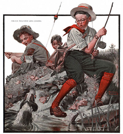 Cousin Reginald Goes Fishing by Norman Rockwell appeared on The Country Gentleman cover October 6, 1917