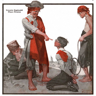 The Country Gentleman from 11/3/1917 featured this Norman Rockwell illustration, Cousin Reginald Plays Pirates