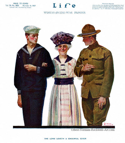 The Lord Loveth A Cheerful Giver by Norman Rockwell appeared on Life Magazine cover May 10, 1917