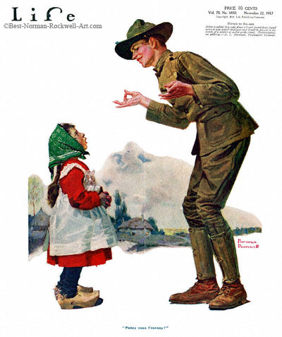 Polley voos Fransay by Norman Rockwell appeared on Life Magazine cover November 22, 1917