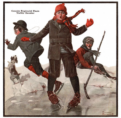 The Country Gentleman from 1/19/1918 featured this Norman Rockwell illustration, Cousin Reginald Plays Tickly Bender