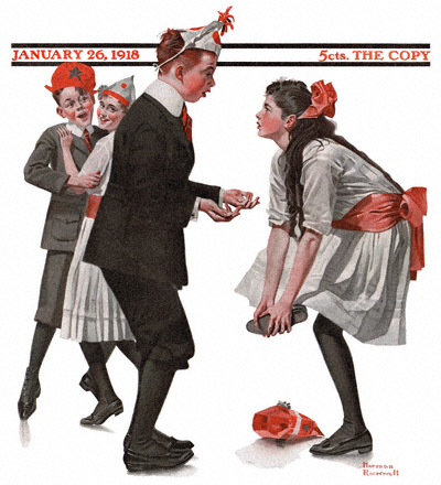 The Saturday Evening Post cover from the January 26, 1918 issue - Children Dancing at a Party by Norman Rockwell