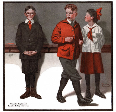 The Country Gentleman from 2/9/1918 featured this Norman Rockwell illustration, Cousin Reginald Spells Peloponesus