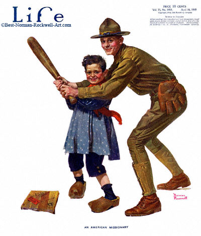 An American Missionary by Norman Rockwell appeared on Life Magazine cover April 18, 1918