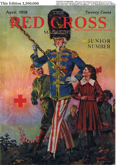 Uncle Sam Marching with Children by Norman Rockwell appeared on Red Cross cover April 1918