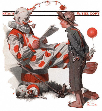 The May 18, 1918 Saturday Evening Post cover by Norman Rockwell entitled Clown and Boy