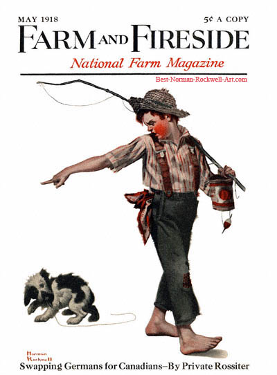 Go Home or Boy and Dog Fishing by Norman Rockwell appeared on Farm And Fireside cover May 1918