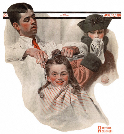 The August 10, 1918 Saturday Evening Post cover by Norman Rockwell entitled Boy at Barber