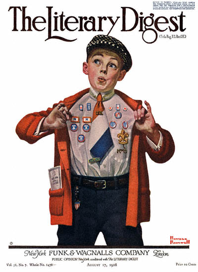The Literary Digest cover by Norman Rockwell published August 17, 1918 entitled Boy Showing Off Badges