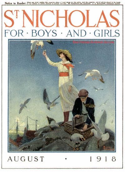Picnic on a Rocky Coast by Norman Rockwell appeared on St. Nicholas cover August 1918