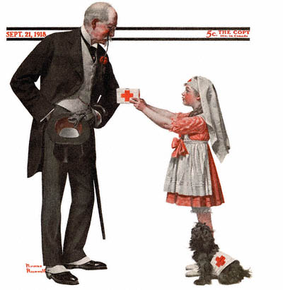 The September 21, 1918 Saturday Evening Post cover by Norman Rockwell entitled Little Girl Working for Red Cross or Red Cross Volunteer