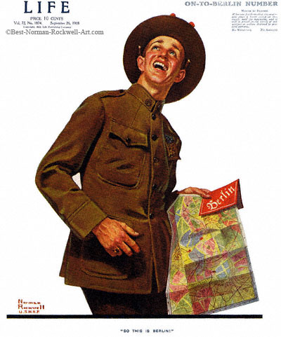 So This Is Berlin by Norman Rockwell appeared on Life Magazine cover September 26, 1918