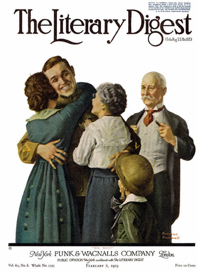 The  February 8, 1919 Literary Digest cover by Norman Rockwell entitled Oh Boy