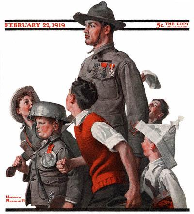 The February 22, 1919 Saturday Evening Post cover by Norman Rockwell entitled World War I Soldier Marching with Children