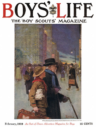 Norman Rockwell cover for Boys' Life appearing February 1919 entitled The Daily Good Turn