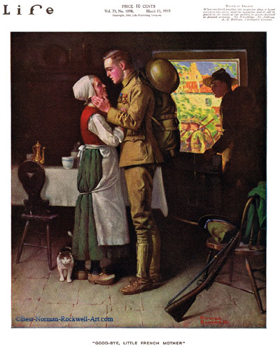 Goodbye Little French Mother by Norman Rockwell appeared on Life Magazine cover March 13, 1919