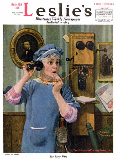 The Party Wire by Norman Rockwell appeared on Leslie's cover March 22, 1919