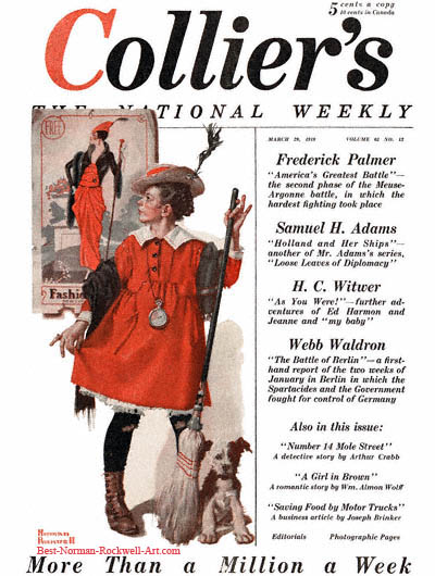 The Little Model by Norman Rockwell appeared on Collier's cover March 29, 1919