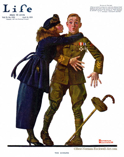 The Coward by Norman Rockwell appeared on Life Magazine cover April 10, 1919