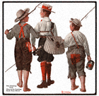 Norman Rockwell's The Fishing Trip from the April 26, 1918 Country Gentleman cover