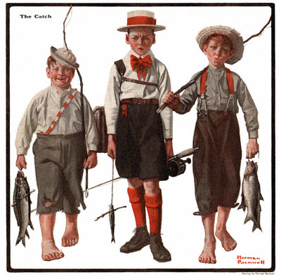 The 5/3/1919 issue of The Country Gentleman featured 'The Catch' by Norman Rockwell
