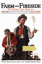 Norman Rockwell's Boy Caught Smoking Pipe from the April 1919 Farm And Fireside cover