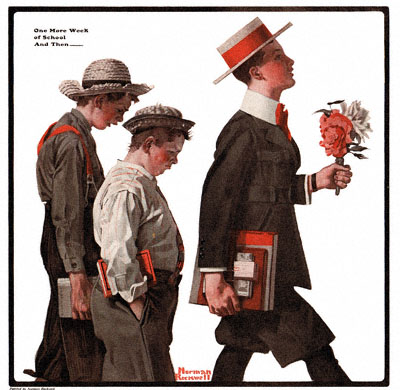 Norman Rockwell's 'One More Week of School And Then...' appeared on the cover of The Country Gentleman on 6/14/1919