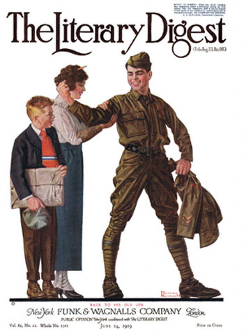 Back to His Old Job or Soldier Flexing His Muscle by Norman Rockwell from the June 14,1919 issue of The Literary Digest