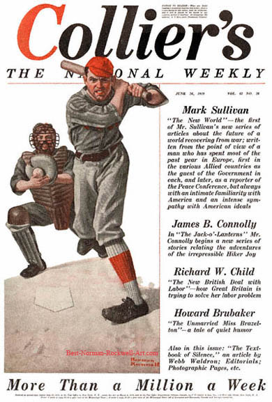 The Baseball Player by Norman Rockwell appeared on Collier's cover June 28, 1919