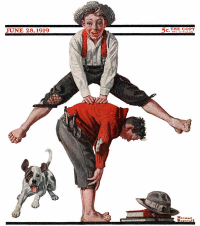 The June 28, 1919 Saturday Evening Post cover by Norman Rockwell entitled Boys Playing Leapfrog