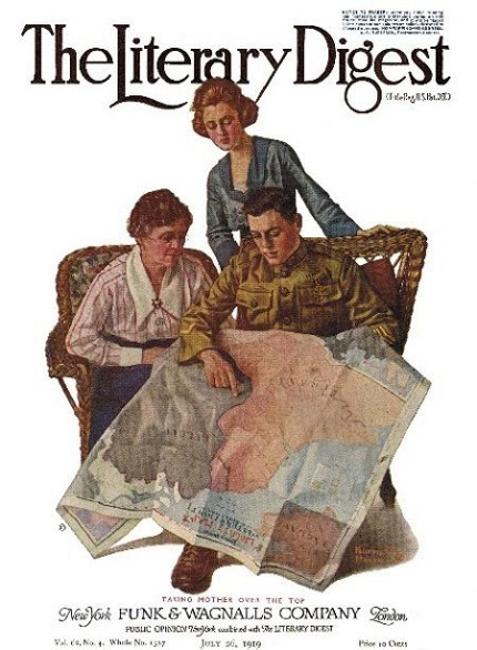 7/26/1919 The Literary Digest cover by Norman Rockwell entitled Taking Mother Over the Top